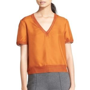 Rag & Bone Helena Burnt Orange Silk Top - Size M